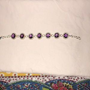 "Jewelry - 8"" Oval Faceted Amethyst Bracelet"